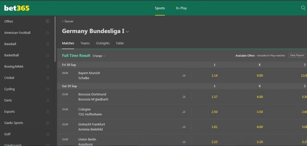 bet365 ставки на футбол германии